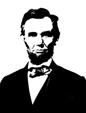 Vector realistic style monochromatic illustration portrait of the american politician and president Abraham Lincoln