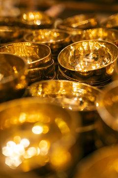 Shiny traditional singing bowls
