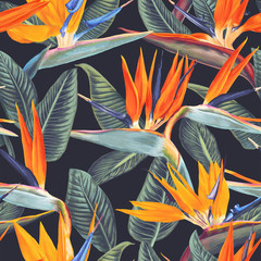 Seamless pattern with tropical flowers and leaves of Strelitzia Reginae on dark background. Realistic style, hand drawn, vector. Background for prints, fabric, wallpapers, wrapping paper, poster, card