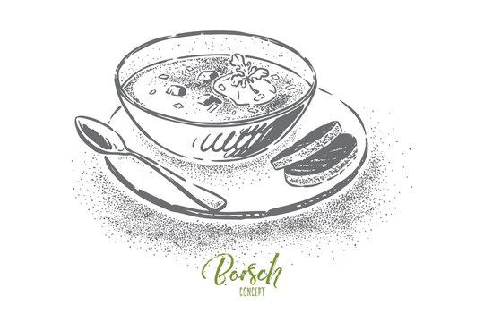 Homemade borscht with sour cream, traditional ukrainian, russian dish, delicious dinner, national slavic cuisine