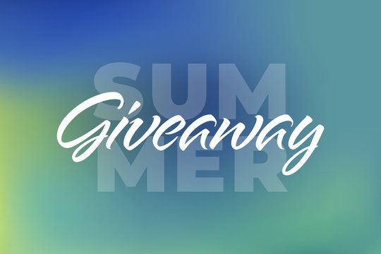 Vector summer colorful giveaway illustration for promotion in social network with lettering font, gradient background. Advertising of giving present fo like or repost. Decoration banner for business.