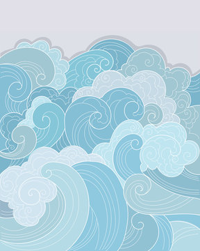 background blue sea ocean waves storm graphics detailed