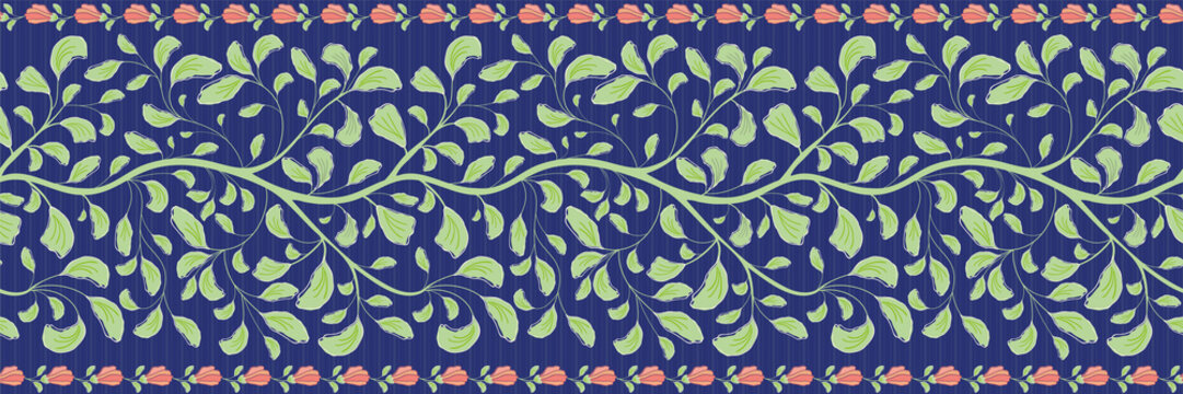 Intricate indian floral border with green leaves and coral flower edge. Seamless vector pattern on striped dark blue background. Great for wellbeing, cosmetic products, summer, packaging,stationery