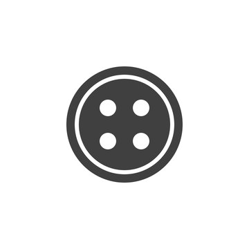 Round clothing button vector icon. filled flat sign for mobile concept and web design. Sewing button with four holes glyph icon. Symbol, logo illustration. Vector graphics