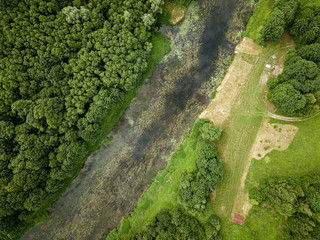 country river in green forest. drone aerial image