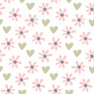 Cute seamless pattern with repeating flowers and hearts. Pastel floral print.