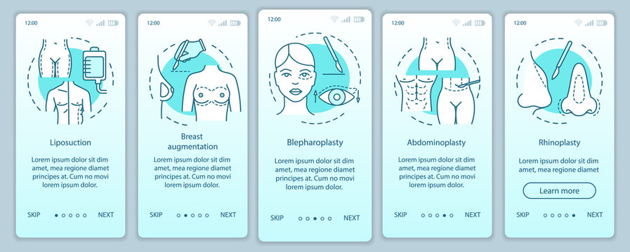 Surgical body sculpting onboarding mobile app page screen vector template