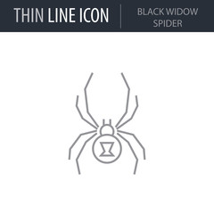 Symbol of Black Widow Spider. Thin line Icon of Insect. Stroke Pictogram Graphic for Web Design. Quality Outline Vector Symbol Concept. Premium Mono Linear Beautiful Plain Laconic Logo