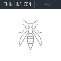 Symbol of Wasp. Thin line Icon of Insect. Stroke Pictogram Graphic for Web Design. Quality Outline Vector Symbol Concept. Premium Mono Linear Beautiful Plain Laconic Logo