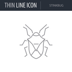 Symbol of Stinkbug. Thin line Icon of Insect. Stroke Pictogram Graphic for Web Design. Quality Outline Vector Symbol Concept. Premium Mono Linear Beautiful Plain Laconic Logo