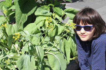 young girl with sunglasses looking at flowers of homegrown mustard