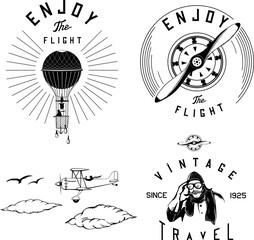 Foto op Textielframe Retro sign aviation logo set black airplane biplane vintage