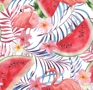 Hand drawn watercolor seamless pattern with pink flamingo, watermelon and exotic plants. Repeat background illustration