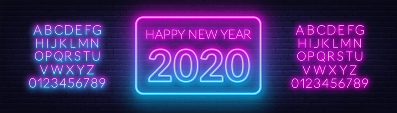Neon gradient sign happy new year 2020 on a dark background with bright alphabets.