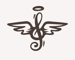 Treble clef with wings and nimbus. Idea for tattoo or logo. Contour silhouette sketch. Eps10 vector illustration.