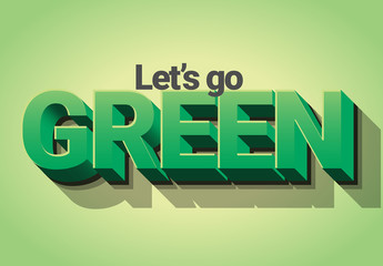 Green 3D Text Effect