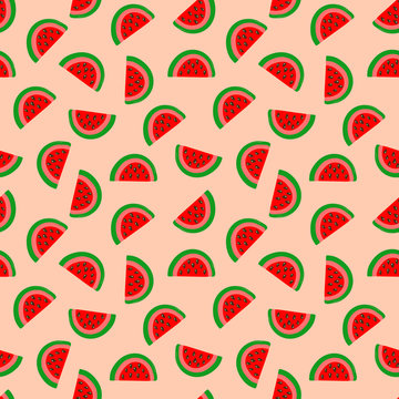 Seamless kids style summer pattern with hand drawn watermelon wedges with seeds on peachy pink background. Fabric textile wrapping paper print for product surface design. Vector illustration