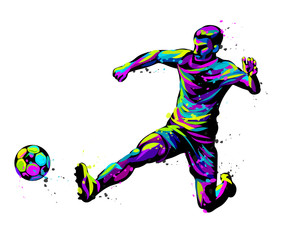 Footballer with the ball. Abstract, graphic, multi-colored image of a football player on a white background in pop art style with watercolor splashes.