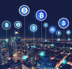 Bitcoin theme with aerial view of Manhattan, NY skyline