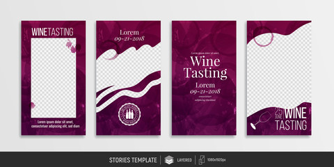 Editable templates for social media stories. Post, story. Red wine stains to combine with your photos.