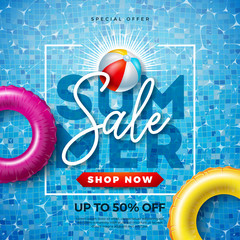 Summer Sale Design with Typography Letter and Float on Water in the Tiled Pool Background. Vector Vacation Illustration with Special Offer Typography for Coupon, Voucher, Banner, Flyer, Promotional