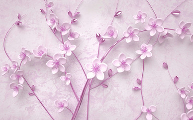3d wallpaper pink and purple branches flowers and butterfly with bricks