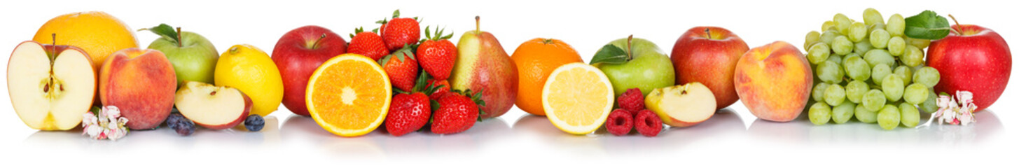 Wall Mural - Fresh fruits collection apple apples grapes orange berries fruit isolated in a row
