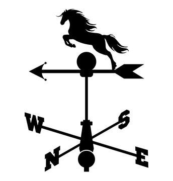 Weather vane. Horse weather vane (weathercock silhouette). Vector illustration.
