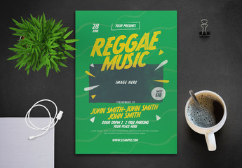 Reggae Music Party Flyer Layout with Graphic Elements