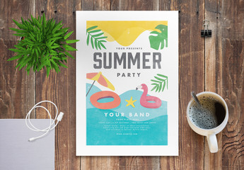 Summer Party Flyer Layout with Graphic Beach Elements