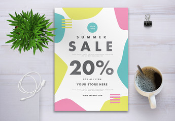 Summer Sale Flyer Layout with Graphic Elements