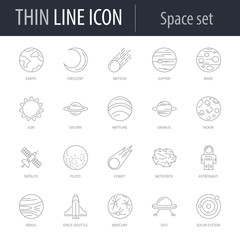 Icons Set of of Space. Symbol of Intelligent Thin Line Image Pack. Stroke Pictogram Graphic for Web Design. Quality Outline Vector Symbol Concept Collection. Premium Mono Linear