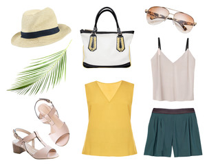 Women's clothes summer set isolated,female apparel.