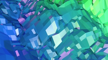 3d surface as 3d low poly abstract geometric background with modern gradient colors, blue green 20 Wall mural