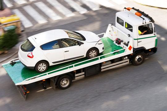 wrecker vehicle in car breakdown for towing