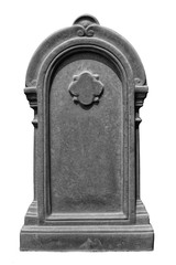 Decorated, oval granite tombstone on white background