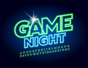 Vector bright neon banner Game Night. Uppercase glowing Font. Green electric Alphabet Letters and Numbers