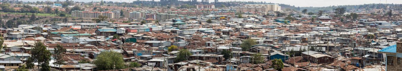 180 degree panorama of the vast slums of Kibera, Kenya. Wall mural