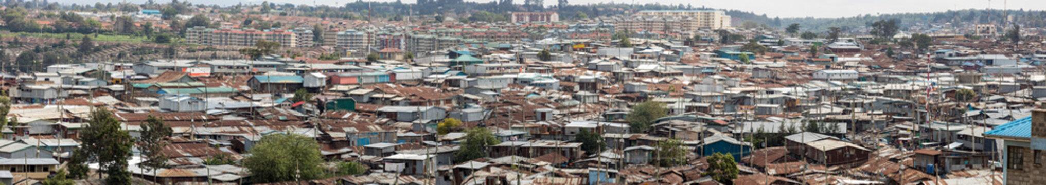 180 degree panorama of the vast slums of Kibera, Kenya.