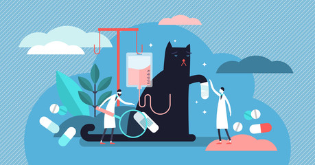Veterinarian occupation vector illustration. Tiny health persons concept.