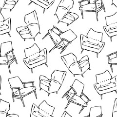 Vector seamless pattern with hand drawn mid century chairs. Beautiful black and white design elements, perfect for prints and wallpaper.