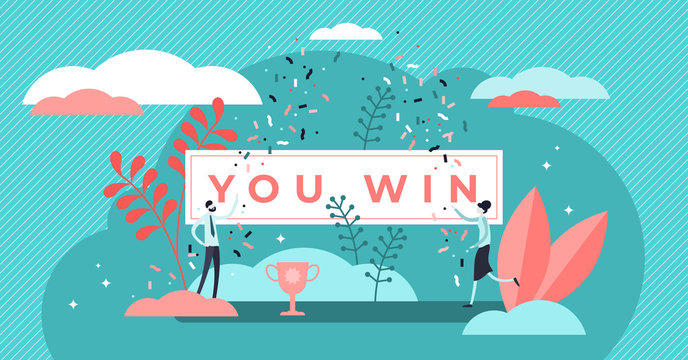 You win title banner vector illustration. Flat tiny prize persons concept.