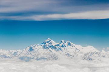 Mount Everest in the Himalayas. 8848 m high. The highest mountain on earth. Seven Summits. Sagarmatha Qomolangma.