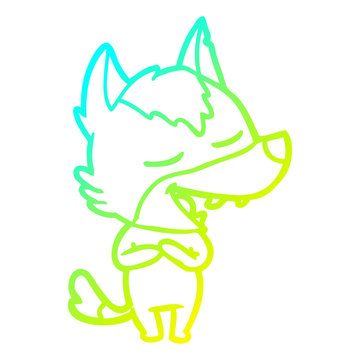 cold gradient line drawing cartoon wolf laughing