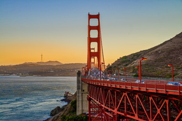 During the sunset at the Golden Gate bridge in San Francisco