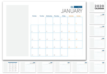 Landscape 2020 Calendar Layout