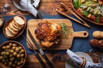 whole chicken dinner image, flat lay Wall mural