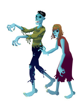 zombies man woman blue isolated
