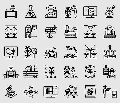 Line icons set for Smart farmer