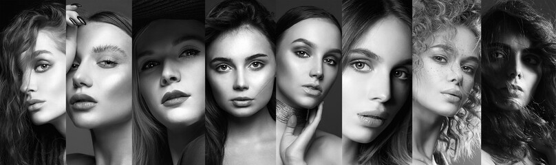 Different beautiful models. black and white collage